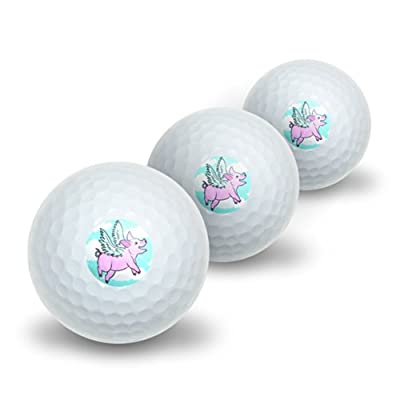 Flying Pig - When Pigs Fly Novelty Golf Balls 3 Pack
