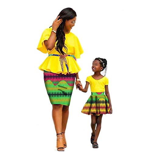 2019 African Dress for Women with Children Suit Set Top and Skirt Matching Clothing
