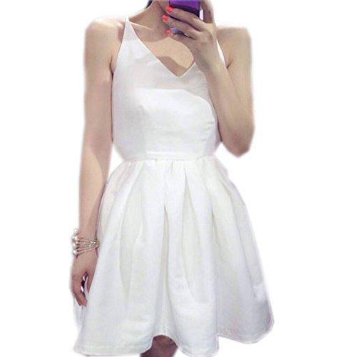 Sexy Robe Dos Nu Blanc Uni Robe Courte Drapée Pour Le Milieu De Partie
