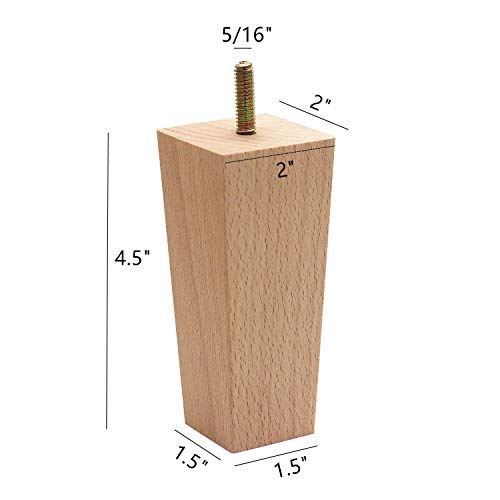 "WEICHUAN Tapered Solid Beech Wood Replacement Sofa Couch Chair Ottoman Loveseat Coffee Table Cabinet Wood Furniture Feet Furniture Wood Legs(4.5"" Set of 4)"