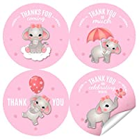2 Inch Pink Elephant Thank You Stickers - Baby Shower Labels Favors Decorations for Girls - 40 Stickers