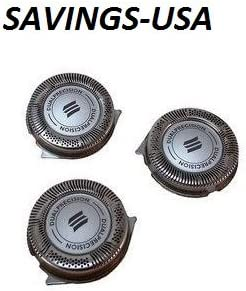Cabezales de repuesto para PHILIPS HQ8 Sensotec Spectra (lote de 3) utilizar con afeitadora Philips: Serie 7100 ...