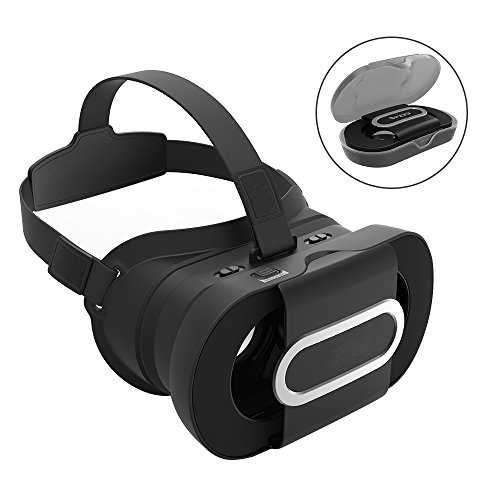 ARCHEER 3D VR Headset Foldable Virtual Reality Headset 3D Glasses Lightweight Portable Video Movie Game VR Box with Protective Case Compatible for iPhone 7/6s Samsung and 4-6 Inch Smartphones Black