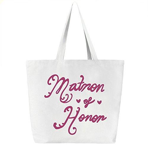(Matron of honor) - ElegantPark Matron of Honour Tote Bag Wedding Favour Hen Night Party Gift White Canvas 100% Cotton Hot Pink Script 1 Pcs B07543CH4L Matron of Honor