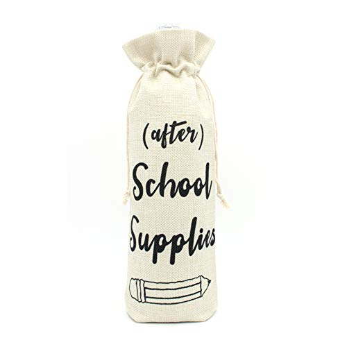 After School Supplies Wine bags-Present for Teacher Gift for Coworkers Teacher appreciation gift wine bottle bags with drawstring-After school snack wine glass cover cotton burlap wine bags (The Best Present For Teacher)