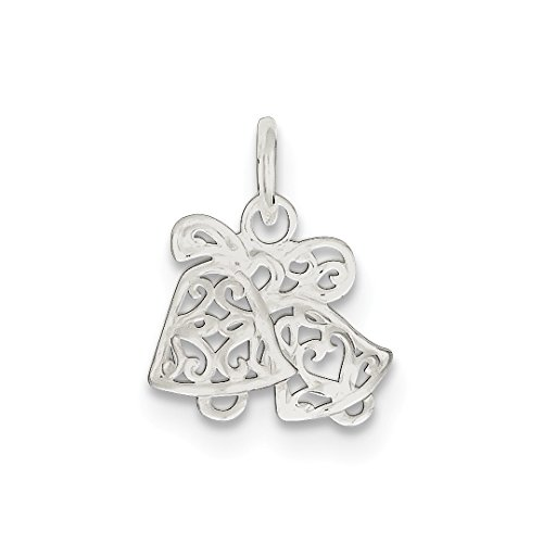 ICE CARATS 925 Sterling Silver Filigree Scroll Bells Pendant Charm Necklace Wedding Holiday Fine Jewelry Ideal Gifts For Women Gift Set From Heart (Filigree Wedding Bell)
