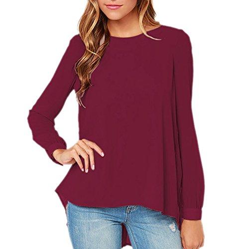 iBaste Camiseta Larga de La Gasa de la Manga del Otoño de La Mujer Rojo