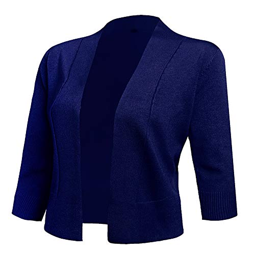 AAMILIFE Women's 3/4 Sleeve Cropped Cardigans Sweaters Jackets Open Front Short Shrugs for Dresses NavyBlue S