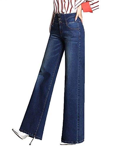 Minghe Women's Office Lady Retro High Waist Wide Leg Jeans Boot Cut Flare Jean Dark Blue XL ()