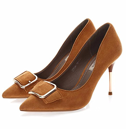 KHSKX-Brown 10Cm Version Of The Korean Journal Of Women'S Shoes In The Fall The New Point To Tie Belt Clip Light Is Solid Color Women'S Singles Shoes Fine With High Heels 37 5CNoV