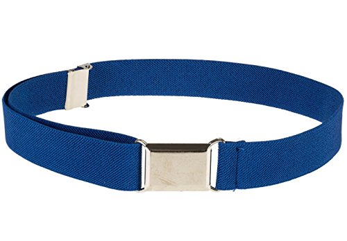 Kids Elastic Adjustable Strech Belt With Silver Square Buckle - Royal Blue