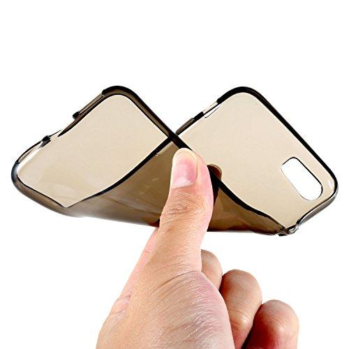 2 PACK Cover iPhone 7 Hülle [Transparent+Grau] , Leathlux Ultra Slim Crystal Clear Schutzhülle Case Gel Handyhülle Silikon Tasche Dünn Transparent Grau TPU Case Silikon Bumper Schutz Hülle Cover für i