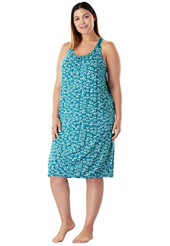 Dreams & Co. Women's Plus Size Supersoft Print Chemise Deep Lagoon Floral,2X
