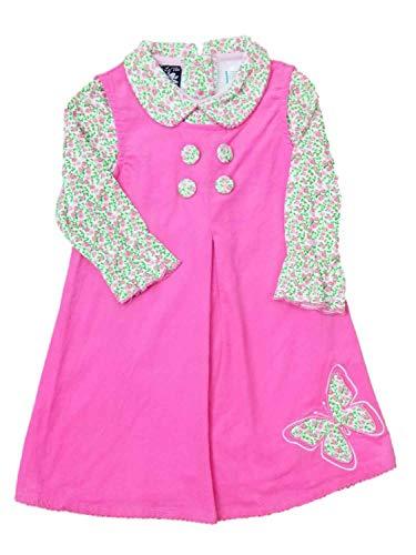 Price comparison product image So La Vita Infant Baby Girls Pink Corduroy Party Jumper Dress Flower Rose Body Suit 24M