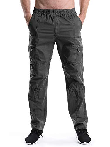 Elastic Polyester Drawstring Waistband (Men's Full Elastic Waist Lightweight Workwear Pull On Cargo Pants #08 Dark Grey Tag 6XL - US 44)