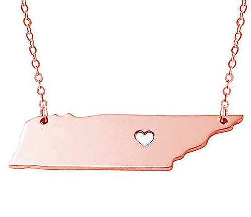 18K Gold Silver Country Map Charm Pendant Tennessee State Map Necklace Jewelry (Rose Gold)