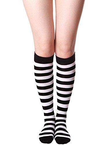 - HASLRA Women's Knee High Socks 1 Pairs (Stripe IVORY)