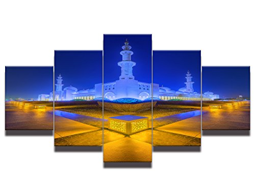 Asia Culture Belief Painting on Canvas Mosque Modern Islamic Muslim Wall Art Posters and Prints Artwork Home Decor for living room Pictures 5 panel large HD Printed Framed Ready to (Archway Poster Print)