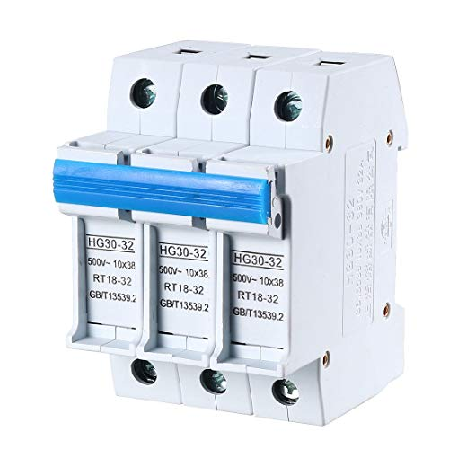 uxcell DIN Rail Mount Fuse Holder 3 Pole HG30-32 for RT14 RT18 Fuse Gray ()