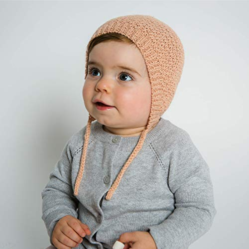 (Hand-Knit 100% Organic Alpaca Wool | Ica Bonnet Hat 6-12 Months (Blush) by Surhilo | Soft, Quality, Hypoallergenic | The Perfect and Eco-Friendly Way to Keep Your Baby and Toddler Cozy and Comfortable)