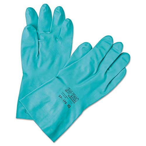 Flock Lined Green (Ansell Chemical Resistant Gloves Size 10 Nitrile 15 Mil 13 In Longsandpatch finish Flock Lined Straight Cuff Green Sol-Vex 37-175-10 12Pairs)