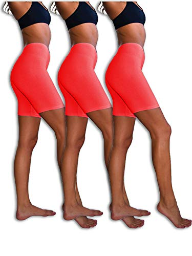 (Sexy Basics Womens 3 Pack Sheer & Sexy Cotton Spandex Boyshort Yoga Bike Shorts (2XL, RED))