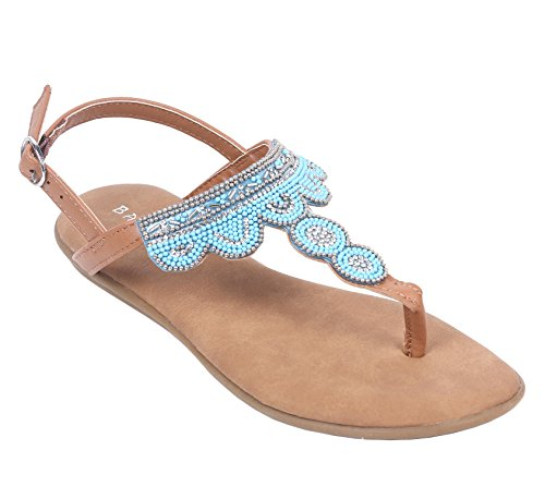 Bambus Womens Thong T-stropp Flate Sandaler Slip-on Slingback Spenne  Nedleggelse Jewells Beaded ...