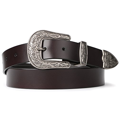 Women Belts for Jeans, SUOSDEY Brown Leather Belts