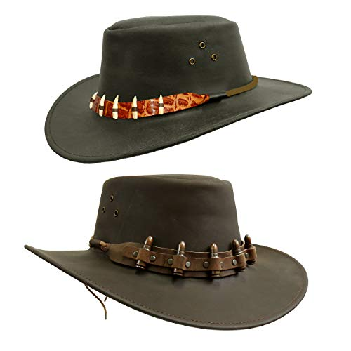 Cowboy Leather Hat with Bullet or Crocodile Hatband | Kakadu Traders Traveller Hat