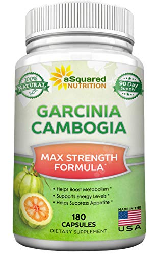 Pure Garcinia Cambogia Extract - 180 Capsule Pills, Natural Garcinia Supplement, Ultra High Strength HCA, Best Max XT Premium Detox Tablet for Men & Women ()