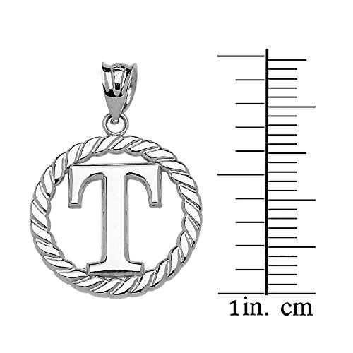 925 Sterling Silver Personalized Roped Circle Initial