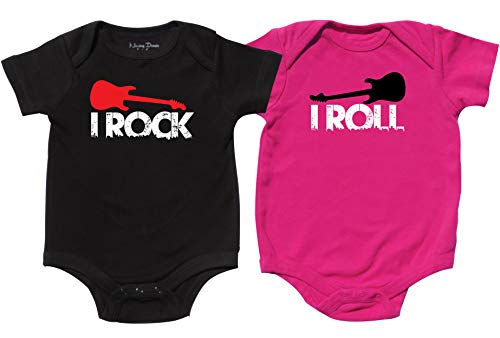 (Twin Bodysuits for Boy and Girl, Includes 2 Bodysuits, 6-12 Month Rock)