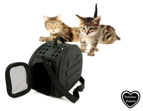 Valentina Valentti Haustier-Tragetasche Transporttasche für Katzen, Kleintiere Transportbox mit Schultergurt V7 Schwarz