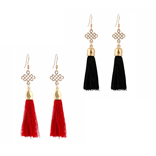 AIHIQI 2Pairs Fish Hook Chinese knot Dangle Tassel Earrings for Womens Girls Party Jewelry (Black and Red) (Earring Fish Black)