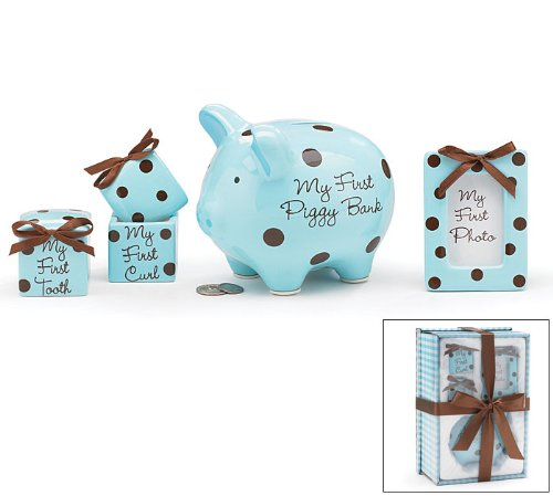 Baby Boy 4 Piece Keepsake Gift Set With Piggy Bank, First Tooth Box,First Curl Box and Photo Frame by Burton & Burton   B0032LY2GM