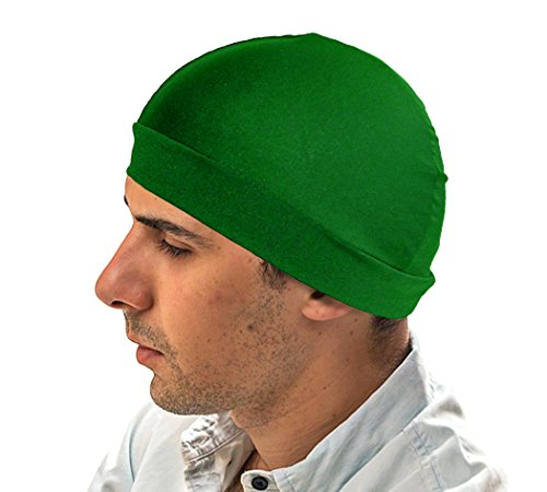 Kelly Green Dome Hat   Spandex Wave Builder Du Rag Cap