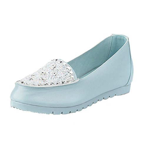 Slip Flats Beads Angelliu Blue Work Comfortable Doug Comfy On Loafer Crystal Womens Shoes wqRvqa