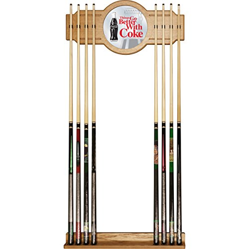 Trademark Gameroom Coke Cue Rack with Mirror - Coca-Cola Things Go Better with Coke Bottle Art
