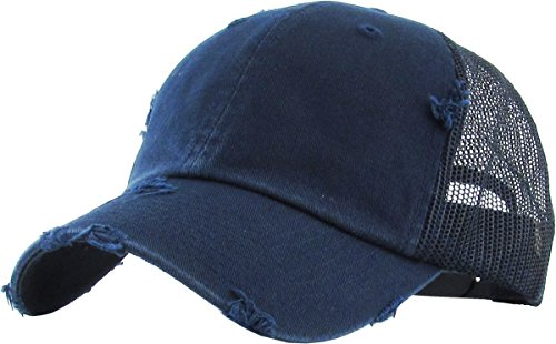 H-6140-K31 Distressed Trucker Dad Hat - Navy