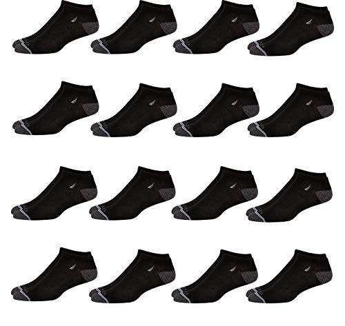 'Nautica Men\'s Flat Knit Comfort Athletic Low Cut Socks (16 Pack), Black, Size Shoe Size: 6-12.5'