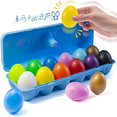 [해외]Prextex 12 Maracas Egg Shakers 뮤지컬 타악기 장난감 - 12가지 색상 플라스틱 부활절 계란 - 아이들 DIY 페인팅 부활절 선물 부활절 달걀 사냥 및 파티 선물 / Prextex 12 Maracas Egg Shakers 뮤지컬 타악기 장난감 - 12가지 색상 플라스틱 부활...