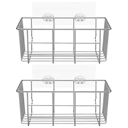 iPEGTOP WZ-7 Adhesive Deep Shower Caddy Bathroom Shelf Storage for Shampoo Conditioner Holder Kitchen Organizer Basket, No Drilling Wall Mounted, Rustproof Stainless Steel, 2 Pack