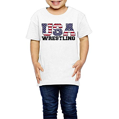XYMYFC-E USA Wrestling 2-6 Years Old Kids Short-Sleeved Tshirt by XYMYFC-E
