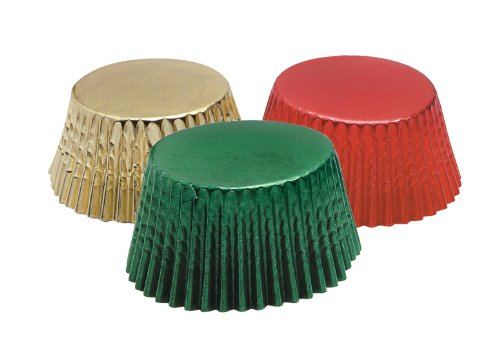 Fox Run 7102 Christmas Foil Bake Cup Set, Standard, 45 Cups, Green, Red & Gold
