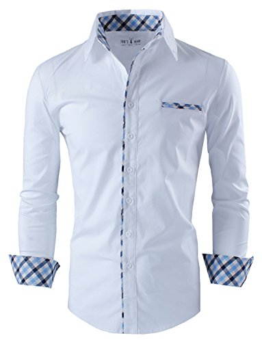 Tom's Ware Mens Premium Casual Inner Contrast Dress Shirt TWNMS310S-1-WHITE-L