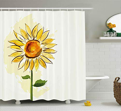 Ambesonne Flower Shower Curtain, Summer Sunflower in Watercolor Soft Pastel Toned Large Petals Artwork, Fabric Bathroom Decor Set with Hooks, 70 Inches, Fern Green Earth Yellow ()