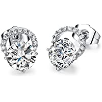 Seeway Fashion Jewelry 18k White Gold cz Stud Earrings for Girls