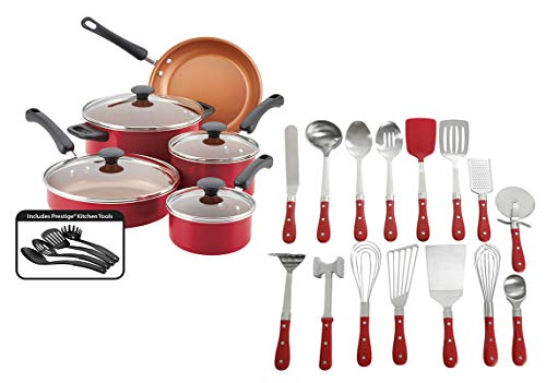 Farberware Easy Clean Pro Nonstick Cookware Set, 13-Piece, Red bundle with The Pioneer Woman Frontier Collection 15-Piece All in One Kitchen Utensil Set, Red