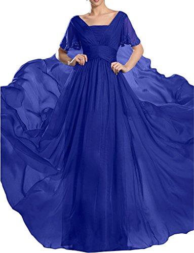ivyd ressing Mujer de gran calidad corta aermel piedras a de línea gasa vestido de fiesta Prom vestido fijo para vestido de noche azul real