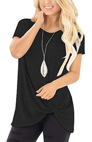 Womens Tank Tops Summer Short Sleeve Tshirts Casual Loose Tunic Blouses (Black, L)